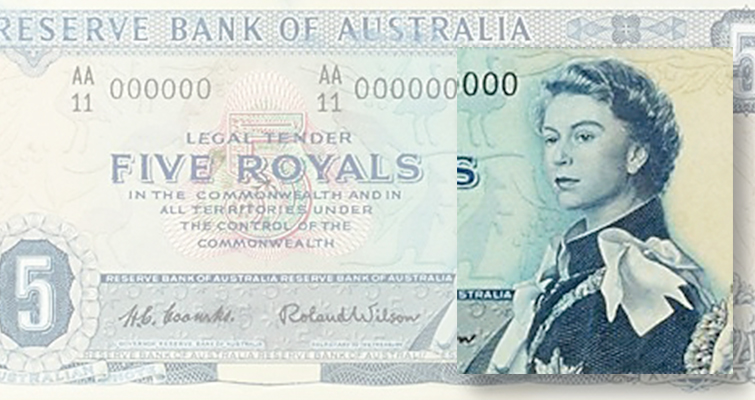 Art works by Australian graphic designers featuring paper money offered for sale