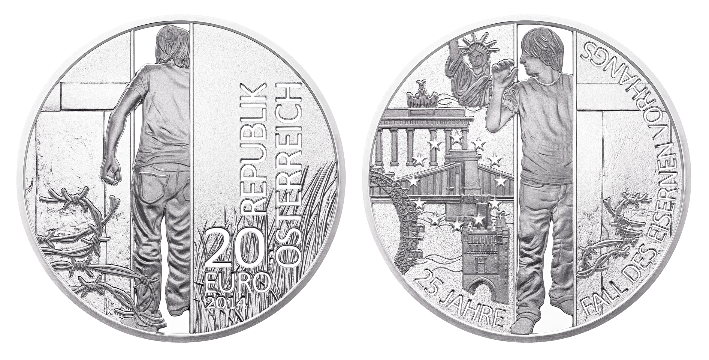 25TH ANNIVERSARY OF THE FALL OF THE IRON CURTAIN Picturing the decisive events associated with the collapse of the Berlin Wall, this ingenious and resonant silver coin celebrates the 25th anniversary of one of the key events in recent world history.