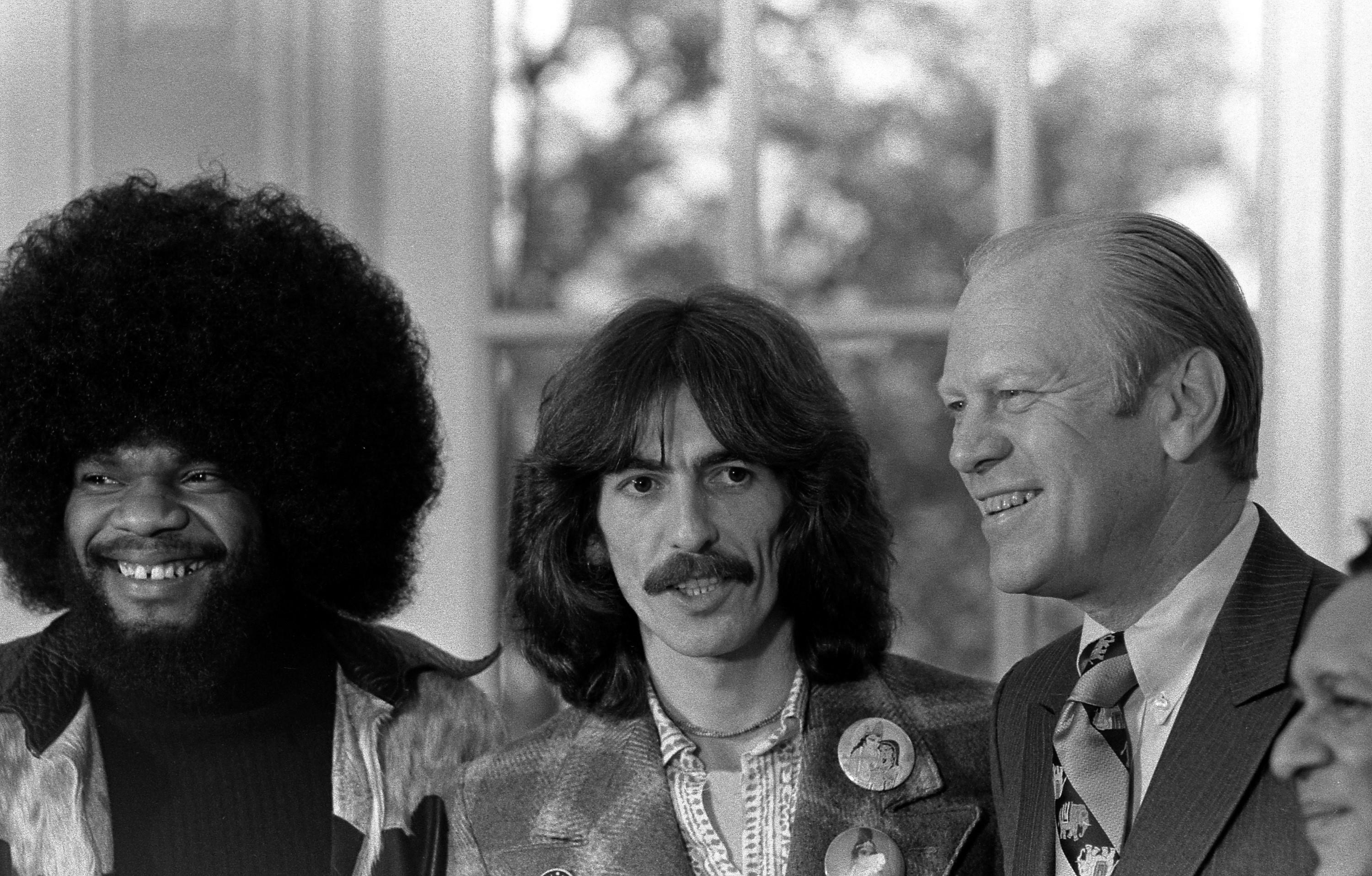 Billy Preston, George Harrison, Gerald Ford and Ravi Shankar in the Oval Office.