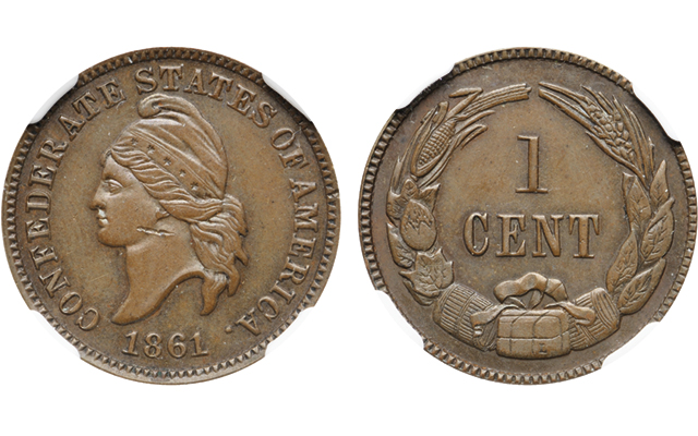 1861 Confederate States of America restrike 1-cent sells for $16,380 in Bonhams auction