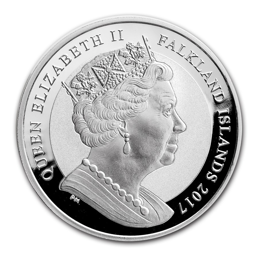 Obverse of Pobjoy Mint's Britannia Rules the Waves 1-ounce silver bullion coin for the Falklands Islands.