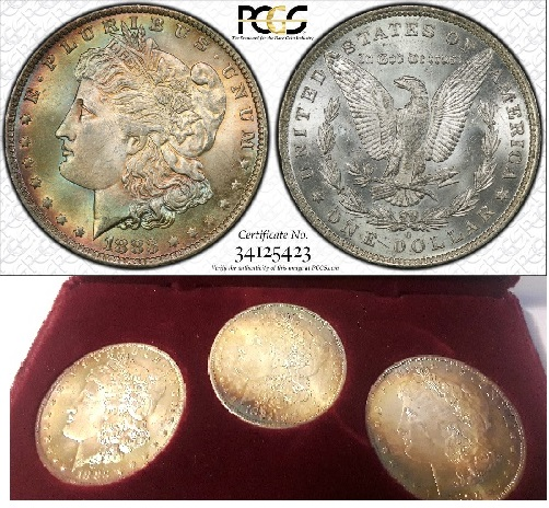 Depicted at top is an image of a coin, now graded, from the Littleton set presented below, showcasing rainbow toning. The graded coin is the coin at left in the set.