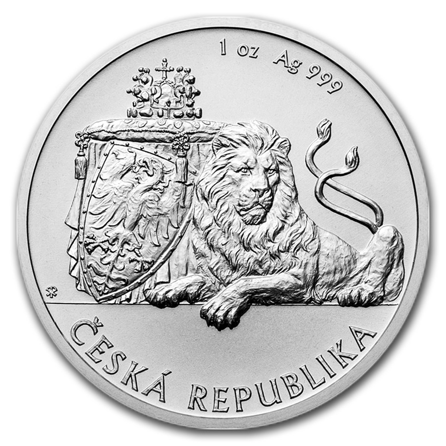 "The first in the Czech Nationhood series, the new Czech Lion bullion coin design includes a ""two-tailed lion (coat of arms of the Czech Republic), burning eagle on a shield (attribute of Saint Wenceslas, patron saint of the Czech state), Crown of Saint Wenceslas (part of the Bohemian Crown Jewels) and linden branch (Czech national tree),"" according to the Czech Mint. The Linden branch is actually on the coin's obverse, decorating the field below Queen Elizabeth's portrait. See the next image."