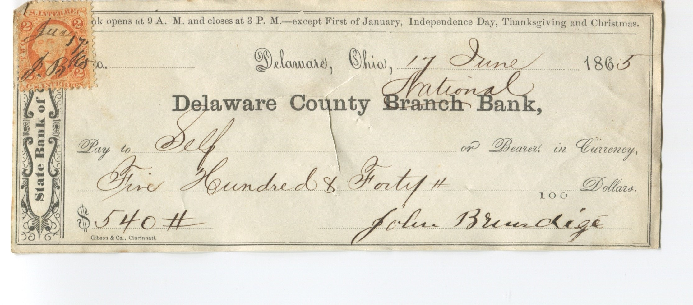 This check was issued June 17, 1865, on the Delaware County National Bank shortly after the bank converted to a national bank from a branch of the State Bank of Ohio. The check, printed during the state bank days, has the word BRANCH crossed out and NATIONAL handwritten in its place. The check bears a 2 cent Internal Revenue stamp. Image courtesy of author.