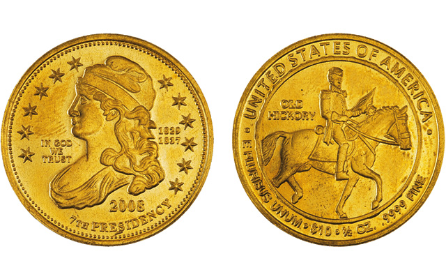 Chinese counterfeit coins like this fake 2008 First Spouse gold $10 eagle, with the Capped Bust Liberty obverse and the reverse design showing Andrew Jackson on horseback, do not bear the inscription