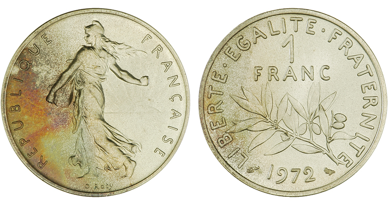 1972 French 1-franc piefort