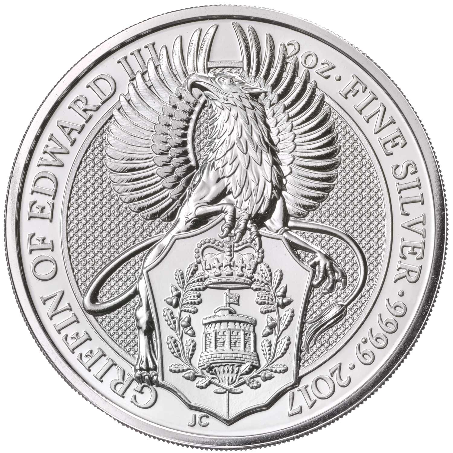 2017 2-ounce silver Griffin from the Royal Mint.  The coin is also offered in gold in 1-ounce and 1/4-ounce sizes.