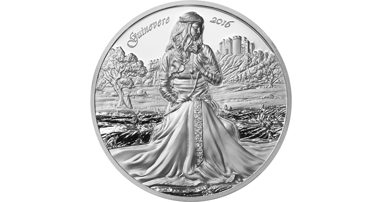 The 2016 Guinevere $10 coin, the second in the Choice Mint's Camelot series, is issued under the authority of the Cook Islands. It follows the same format as the previous coin: a two-ounce .999 silver piece with a 50-millimeter diameter and a mintage of 999.