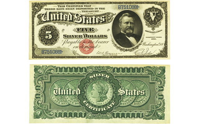 Large-size silver certificates, Treasury or coin notes most beautiful and historical