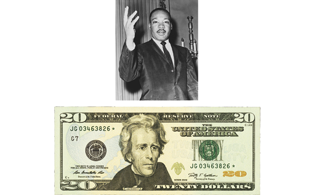 Writers advocate taking Andrew Jackson's portrait off $20 FRNs, replace with Martin Luther King Jr.