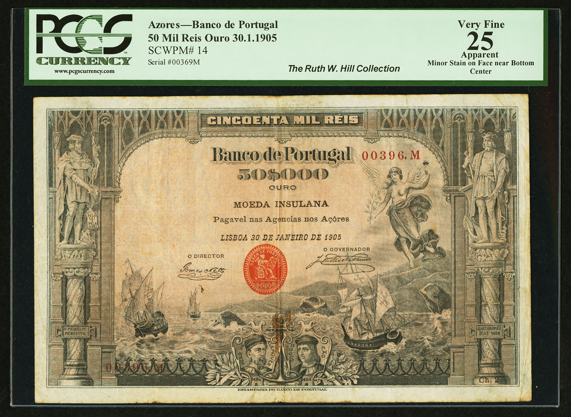 Plain would not be the way to describe the design on the face of a very rare 1905 Bank of Portugal 50-mil reis ouro note issued for the Azores. It's an exotic design from an exotic place. The Azores is a group of nine volcanic islands in the North Atlantic Ocean.