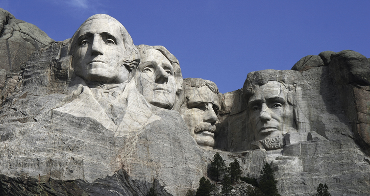 Between 1927 and his death in 1941, Borglum directed some 400 workers as they blasted 60-foot tall portraits of George Washington, Thomas Jefferson, Theodore Roosevelt and Abraham Lincoln from the granite face of Mount Rushmore in the Black Hills of South Dakota.