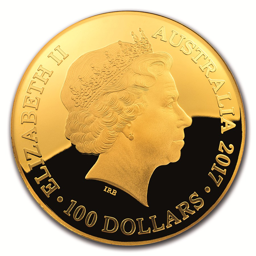 The convex obverse of the Royal Australian Mint's Celestial Dome $100 gold coin series carries the Ian Rank-Broadley image of Queen Elizabeth II.