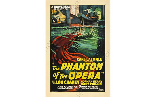 The opera is a source of inspiration for other art forms, as the various productions of Phantom of the Opera document. This poster for Universal's 1925 film sold for more than $200,000 at auction last year. Image courtesy of Heritage Auctions.