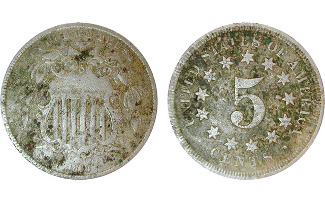 Latest find is a pitted 1868 Shield 5-cent coin in a roll of Jefferson 5-cent coins