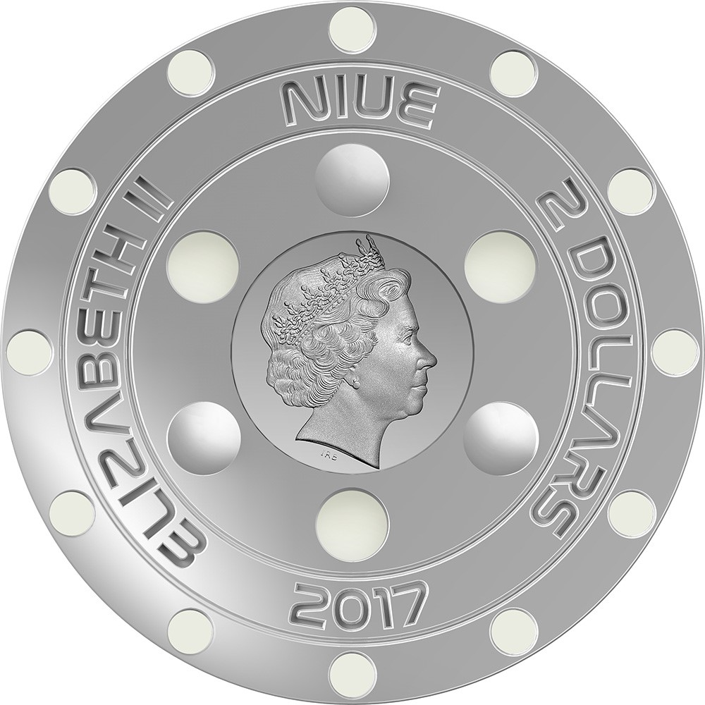 Paris-based private mint Art Mint  has launched an intriguing new coin under the authority of Niue that commemorates the so-called Roswell Incident that occurred 70 years ago. The obverse has a reduced-size effigy of Queen Elizabeth and small glow-in-the-dark circles arranged in a circular pattern.