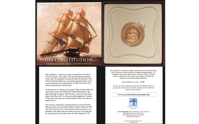 A copper relic medal was made from copper recovered from the hull of the USS Constitution, the world's oldest warship, to celebrate the War of 1812.