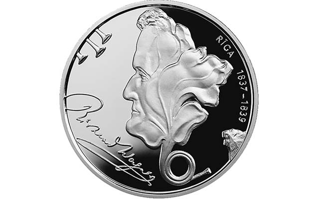 The opera is a source of inspiration for other art forms. This 2013 Latvian 1-lats silver coin, right, marks the 200th anniversary of composer Richard Wagner's birth. Image courtesy of Bank of Latvia.