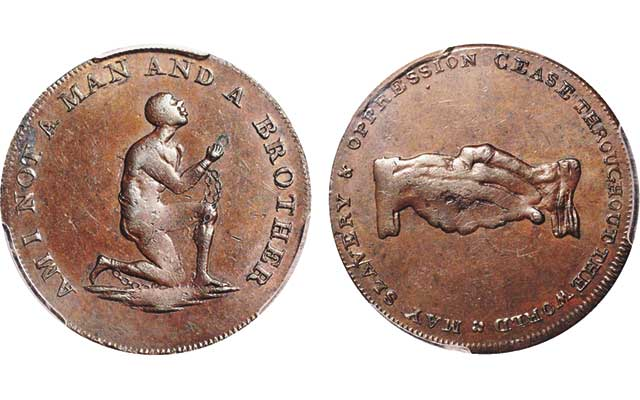 British anti-slavery halfpenny token in Davisson's auction