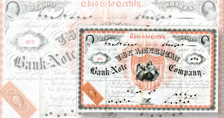 American Bank Note Co. stock certificate tops July 26 AIA auction in New Jersey