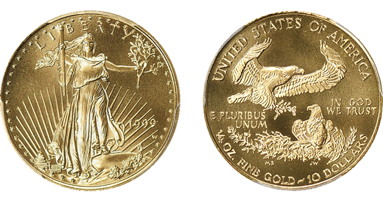 1999-W American Eagle quarter-ounce gold bullion obverse and reverse