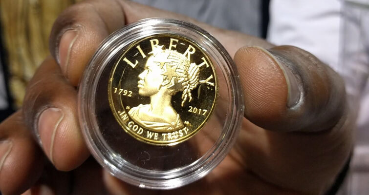 2017 gold coin featuring first African-American Liberty on display in Long Beach