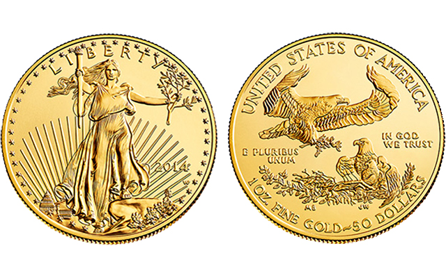 $1,575 the price set for the gold 2014 American Eagle Uncirculated coins