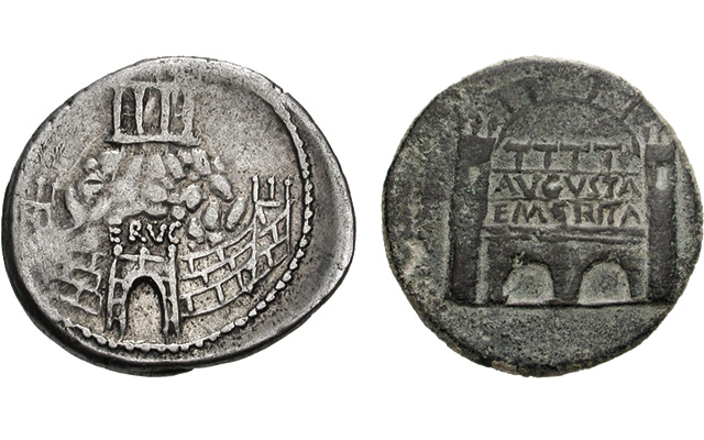 Roman walled fortifications are a common design theme on ancient Roman coins