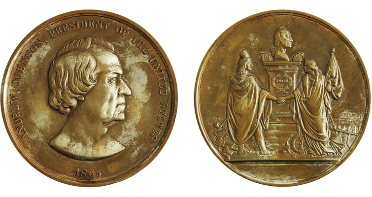 Indian peace medal depicting President Andrew Johnson