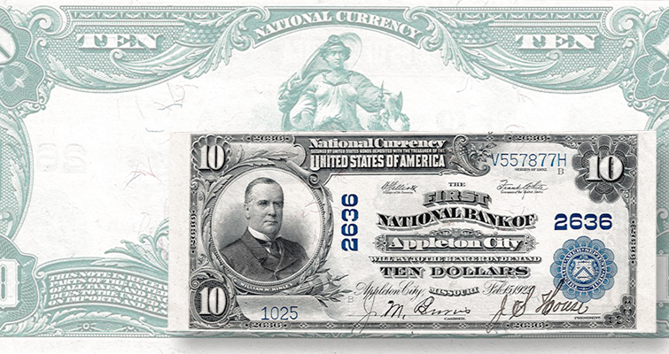 $10 national bank note from Missouri