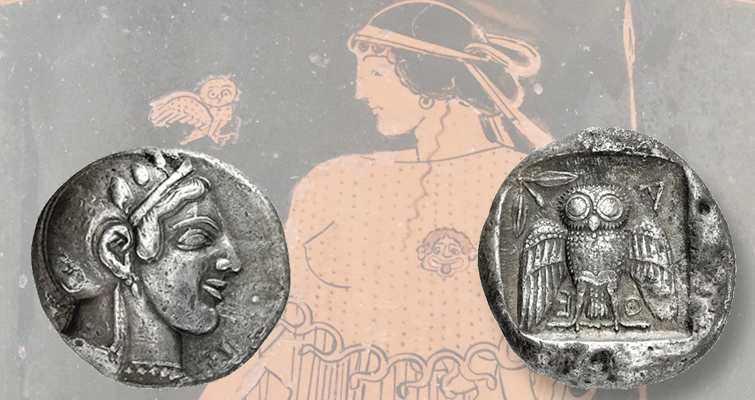 Athens and owl silver decadrachm
