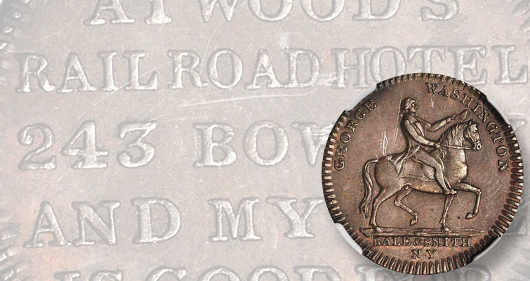 George Washington on horseback Hard Times token