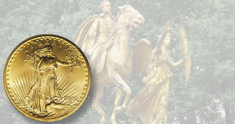 Created by Augustus Saint-Gaudens, the massive gilded bronze statue of Civil War Gen. William Tecumseh Sherman in Grand Army Plaza, at the southeast corner of New York's Central Park, features a statue of Victory, cast in 1902, that is often cited as the inspiration for Liberty on the Saint-Gaudens double eagle