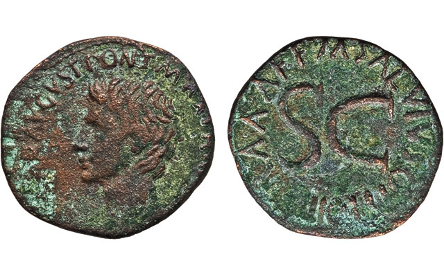 This bronze as, issued in Rome in 7 B.C., shows Augustus on the obverse and the moneyer's name - M. Salvius Otho – on the reverse. The nearly Very Fine coin sold for $44 at auction just before last Christmas.