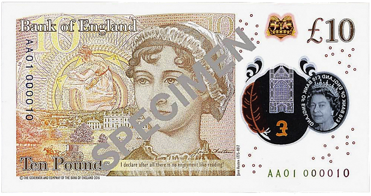 Jane Austen £10 with serial number AA01 000010