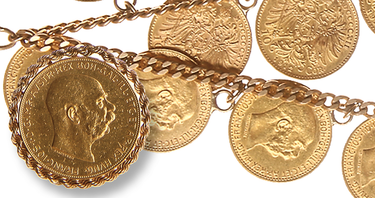 Gold necklace with Austrian coins sells in Goldberg auction