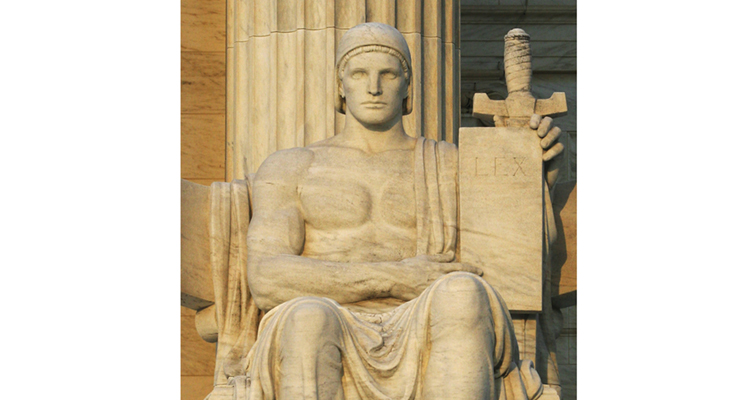Fraser's Authority of Law statue stands outside the U.S. Supreme Court.