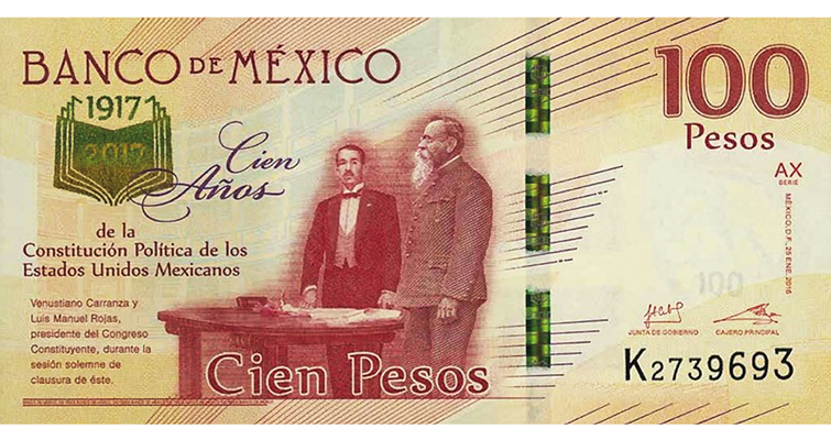 2017 100-peso bank note Mexico