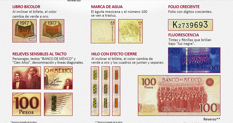 features of new Mexican 100-peso note