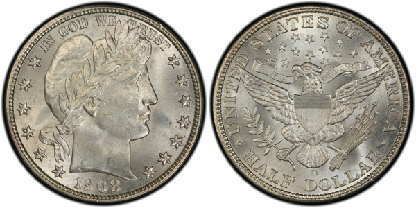 A 1908-D Barber half dollar was among the coins our Facebook fans and Twitter followers say they purchased recently.