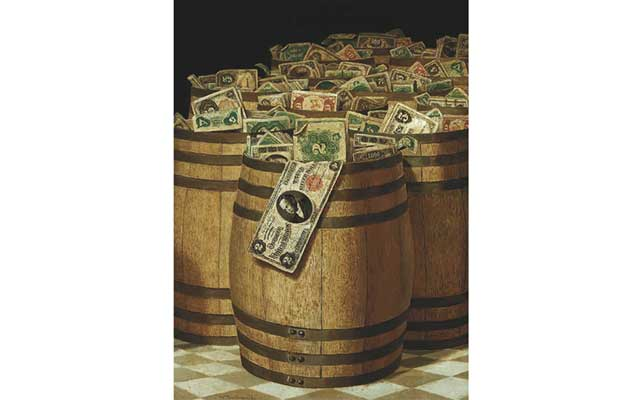 Victor Dubreuil's paper money paintings got Secret Service's attention as they bordered on counterfeiting