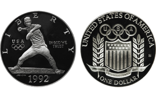 Does the controversial 1992 Olympic Games silver dollar depict Nolan Ryan?