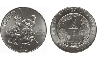 A forgotten U.S. coin with a baseball design? (1995-S Olympic Games Baseball copper-nickel clad half dollar)