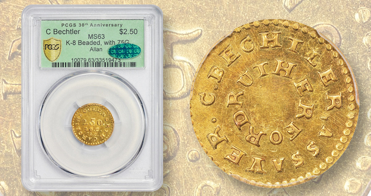 A $2.50 pioneer gold coin tops sale of Allan Collection of Bechtler coins