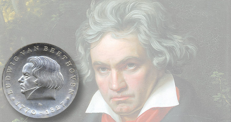 German-born composer Beethoven popular subject on coins of several nations