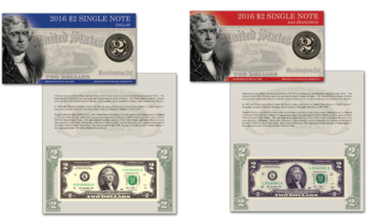 BEP releases two Series 2013 $2 note sets from two Fed banks