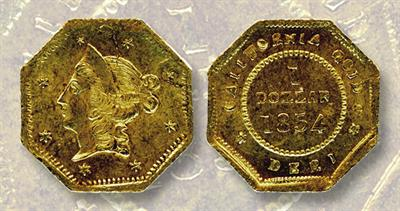Discovered 526a die pairing of California gold dollar