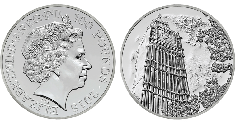 "The Royal Mint's first silver ""£100 for £100"" coin showcases the bell tower for the London clock known as Big Ben. Inside the tower,  pennies and pounds have been used as pendulum weights to regulate the timepiece since it was set ticking more than 150 years ago."