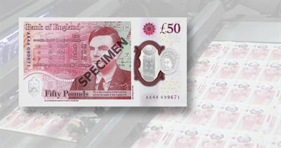 50 pound bank note featuring Alan Turing
