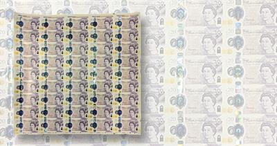 Bank of England sheet of notes